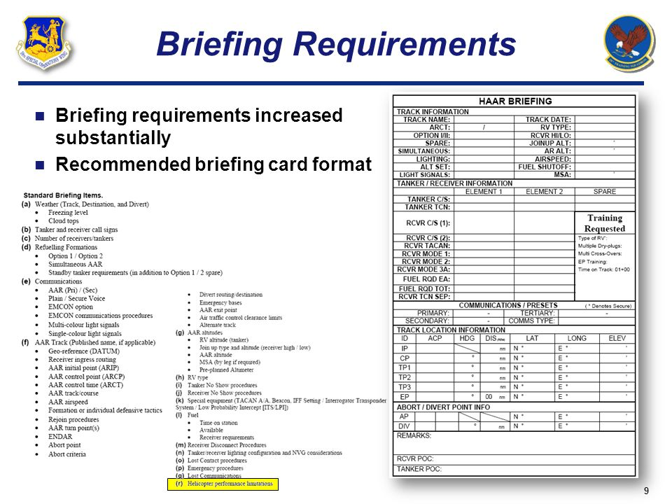 Briefing Requirements