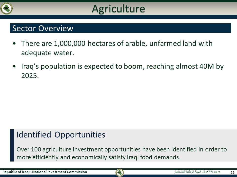 Agriculture Sector Overview Identified Opportunities