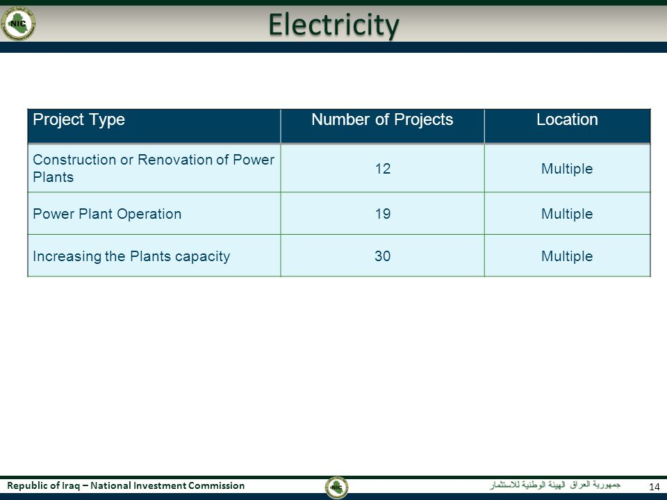 Electricity Project Type Number of Projects Location