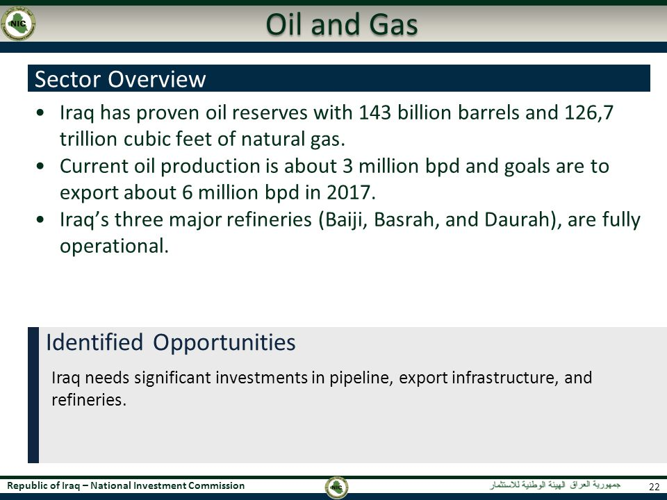 Oil and Gas Sector Overview Identified Opportunities