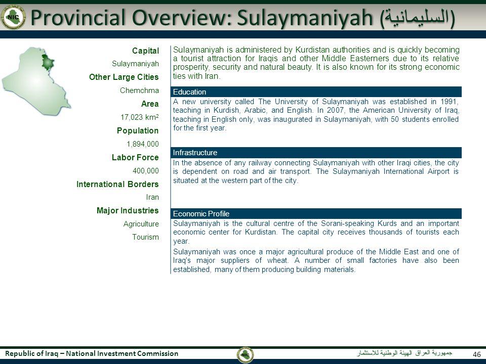 Provincial Overview: Sulaymaniyah (السليمانية)