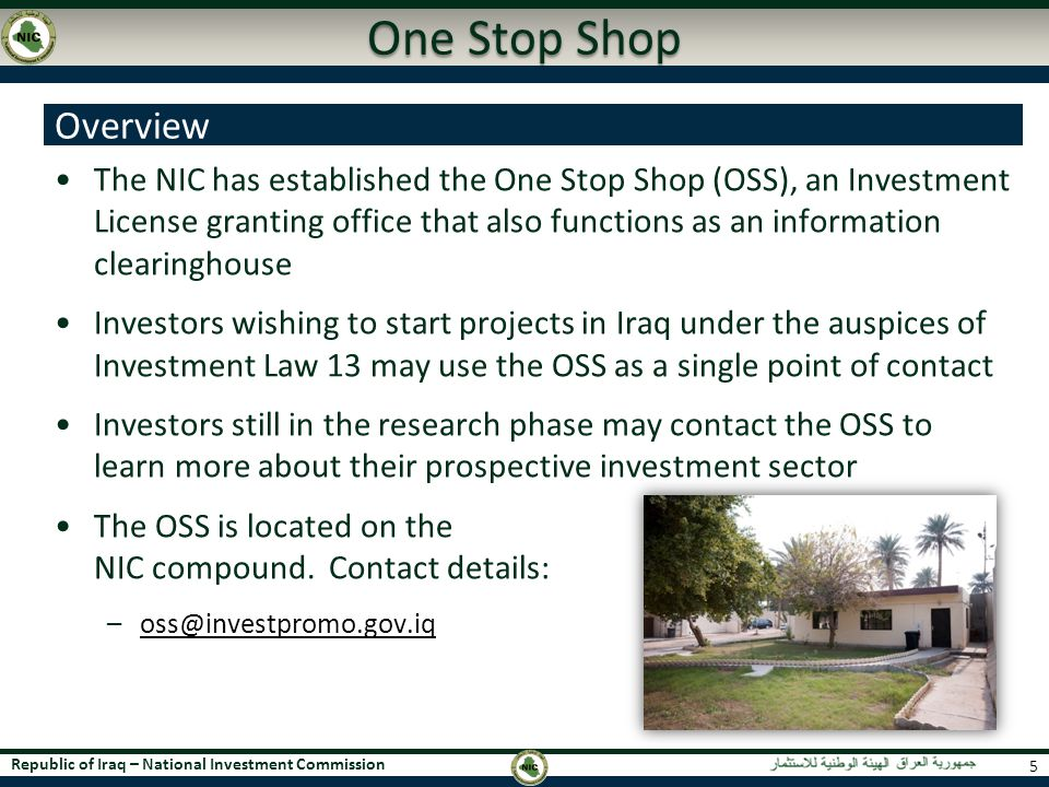 One Stop Shop Overview.