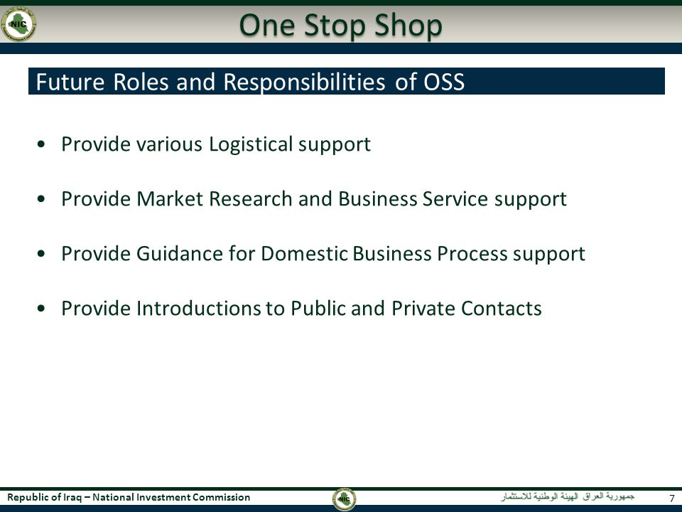 One Stop Shop Future Roles and Responsibilities of OSS