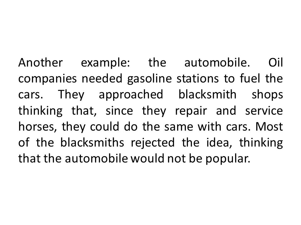 Another example: the automobile