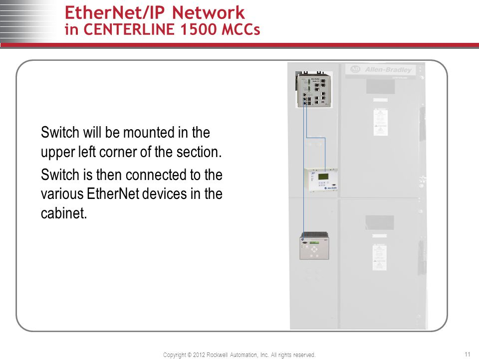 EtherNet/IP Network in CENTERLINE 1500 MCCs