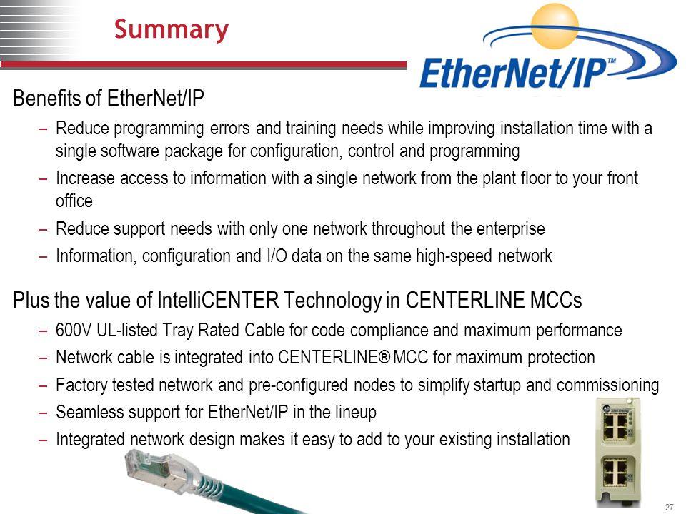 Summary Benefits of EtherNet/IP