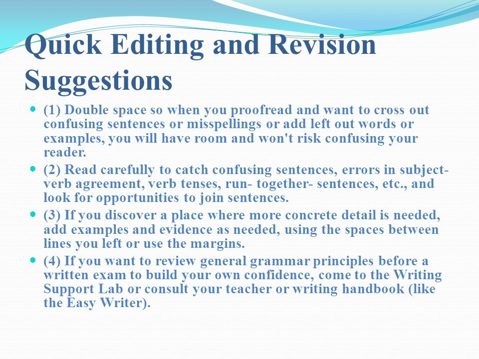 Quick Editing and Revision Suggestions
