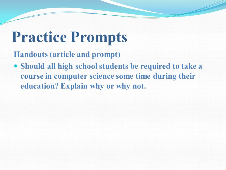 Practice Prompts Handouts (article and prompt)