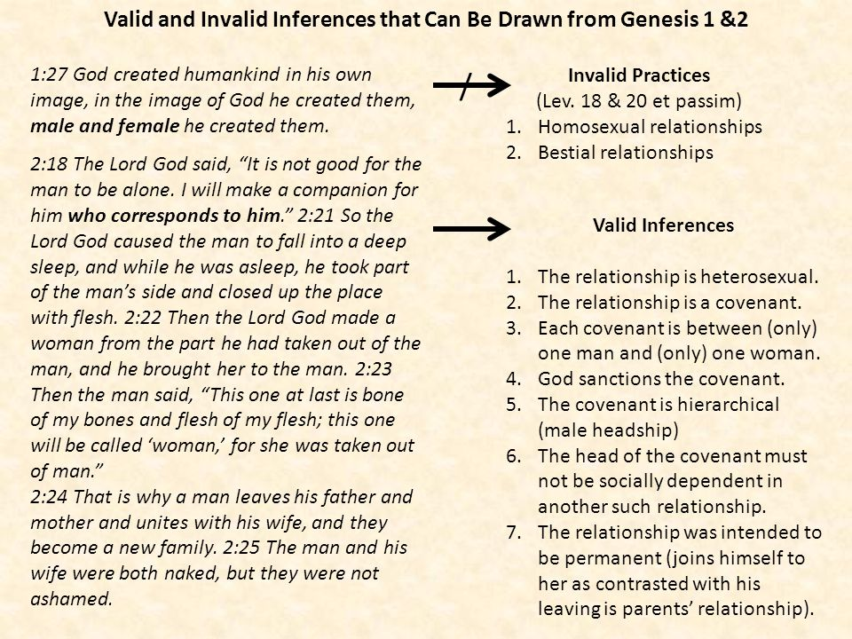 Valid and Invalid Inferences that Can Be Drawn from Genesis 1 &2