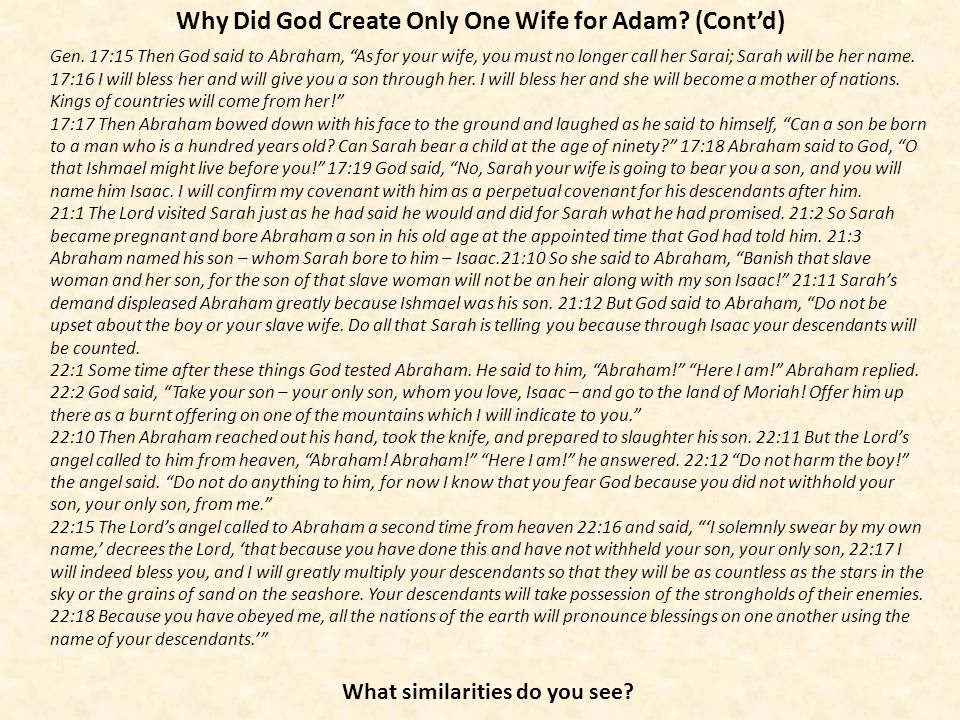 Why Did God Create Only One Wife for Adam (Cont'd)
