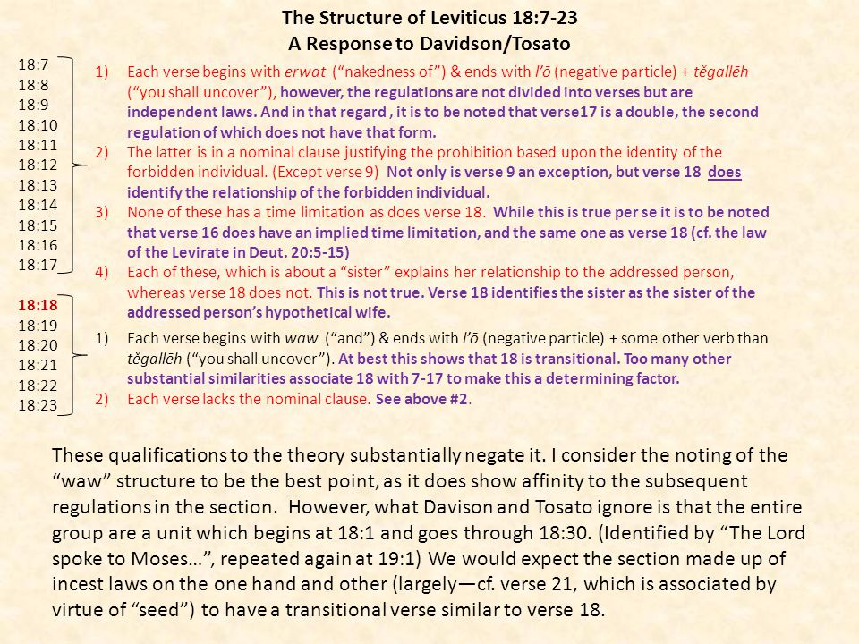 The Structure of Leviticus 18:7-23 A Response to Davidson/Tosato