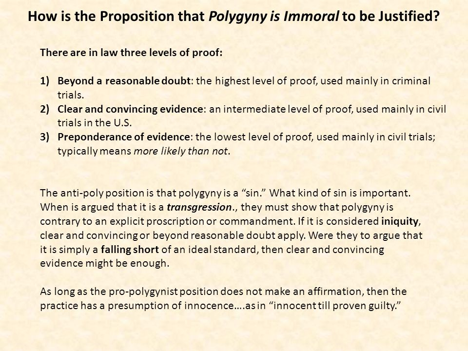 How is the Proposition that Polygyny is Immoral to be Justified