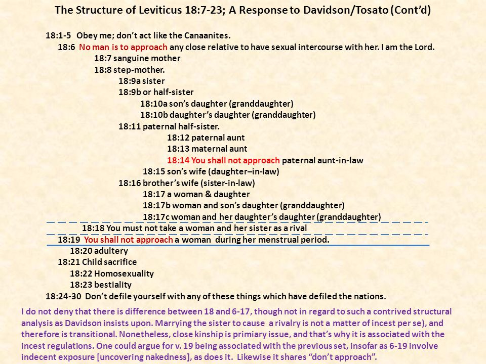 The Structure of Leviticus 18:7-23; A Response to Davidson/Tosato (Cont'd)