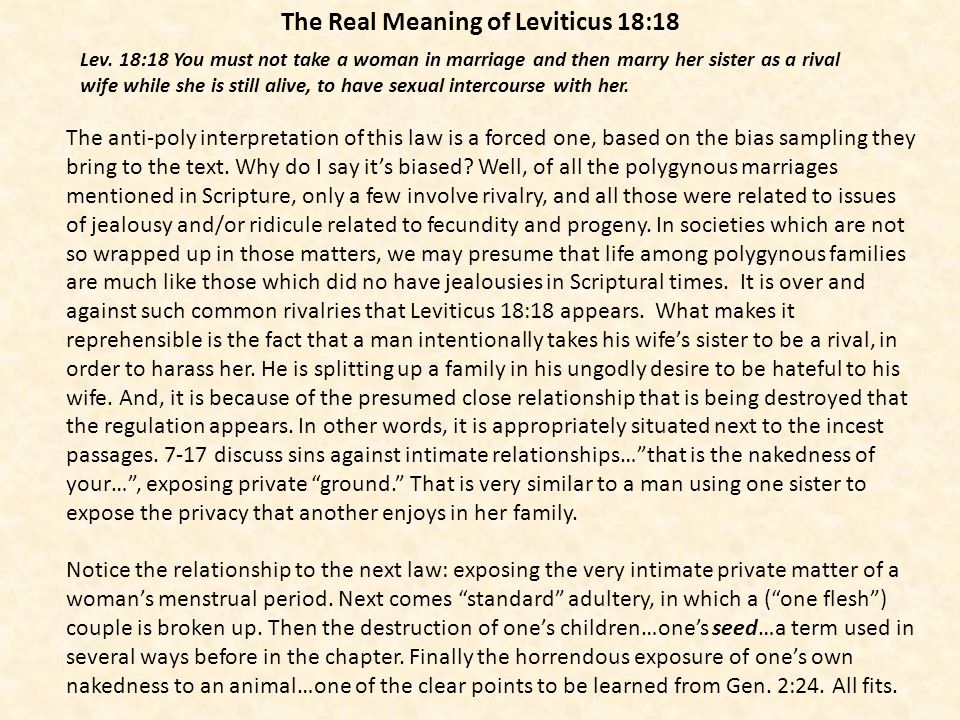 The Real Meaning of Leviticus 18:18
