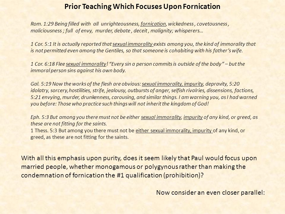Prior Teaching Which Focuses Upon Fornication
