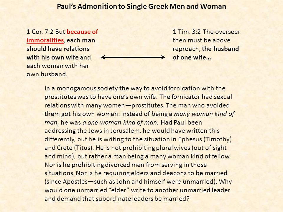 Paul's Admonition to Single Greek Men and Woman