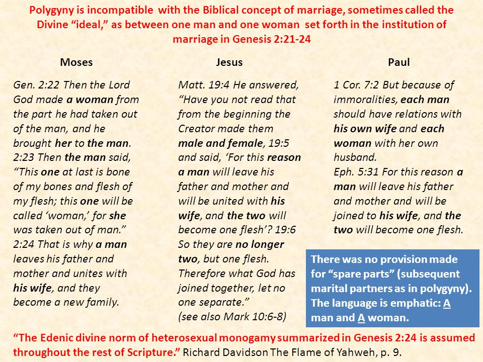 Polygyny is incompatible with the Biblical concept of marriage, sometimes called the Divine ideal, as between one man and one woman set forth in the institution of marriage in Genesis 2:21-24