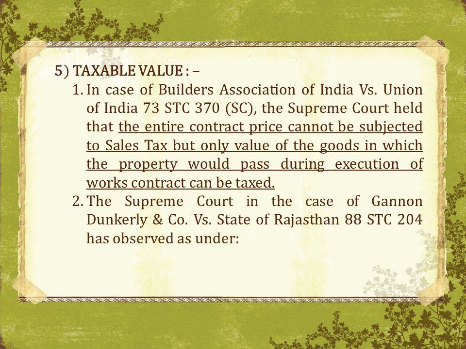 5) TAXABLE VALUE : –