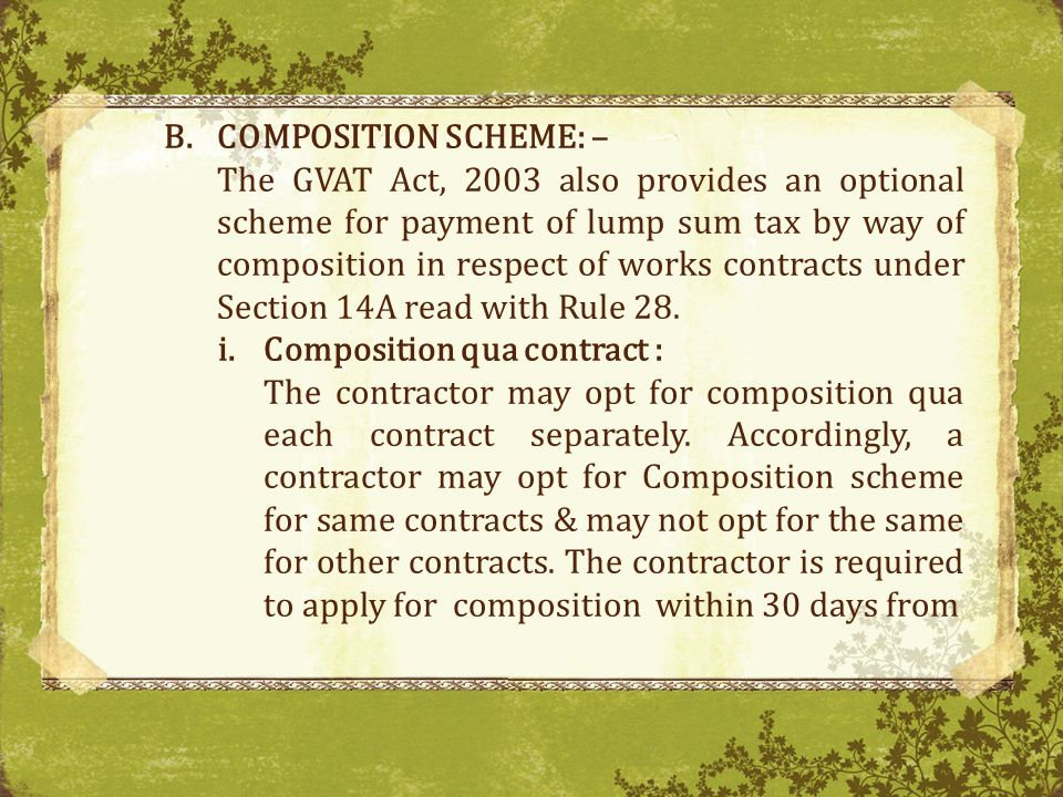 COMPOSITION SCHEME: –