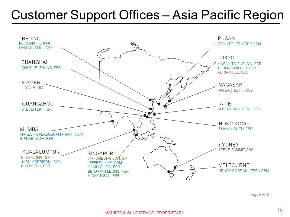 Customer Support Offices – Asia Pacific Region
