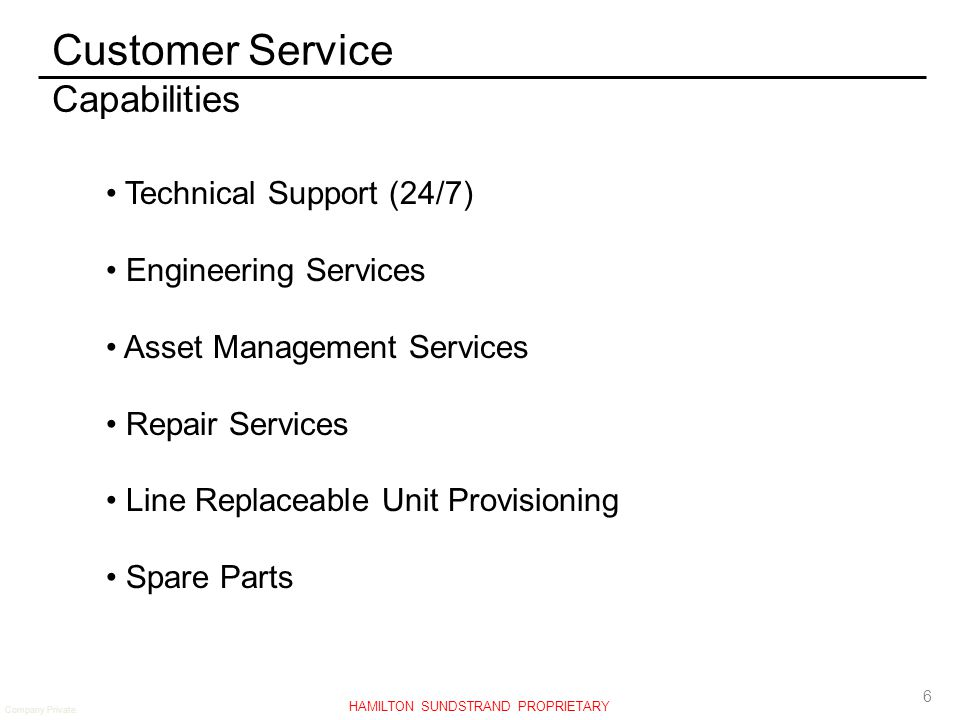 Customer Service Capabilities