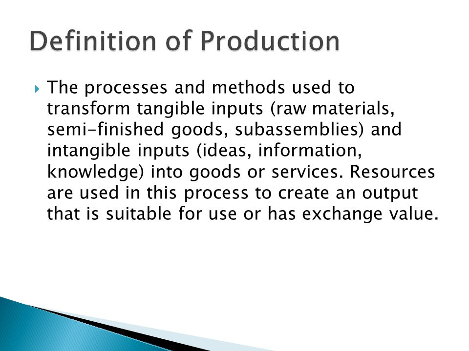 Definition of Production