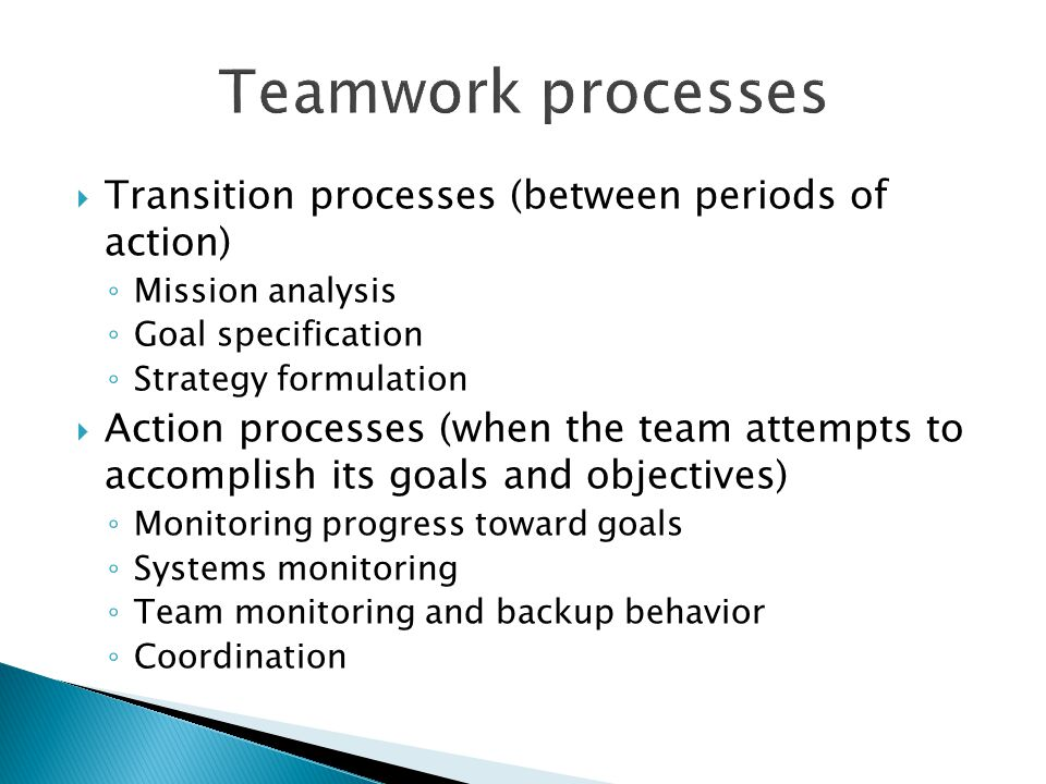 Teamwork processes Transition processes (between periods of action)