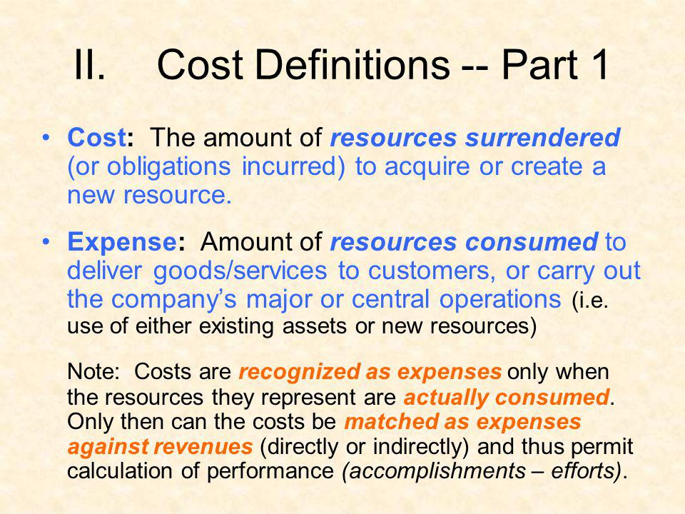 Cost Definitions -- Part 1
