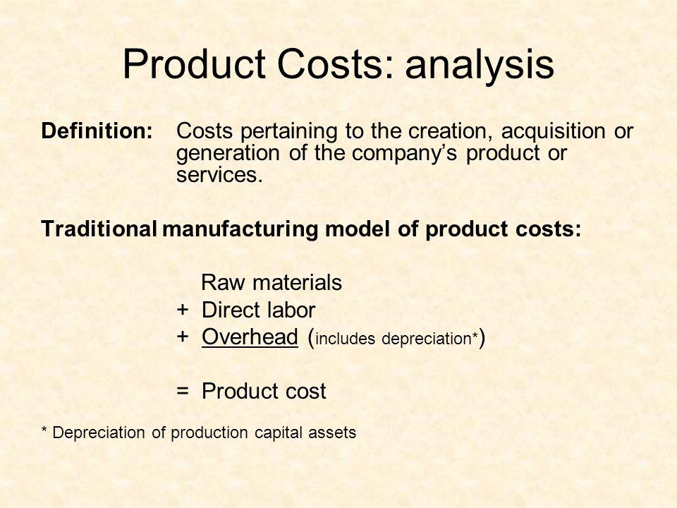 Product Costs: analysis