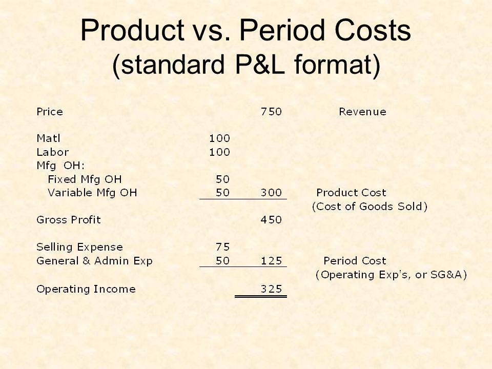 Product vs. Period Costs (standard P&L format)
