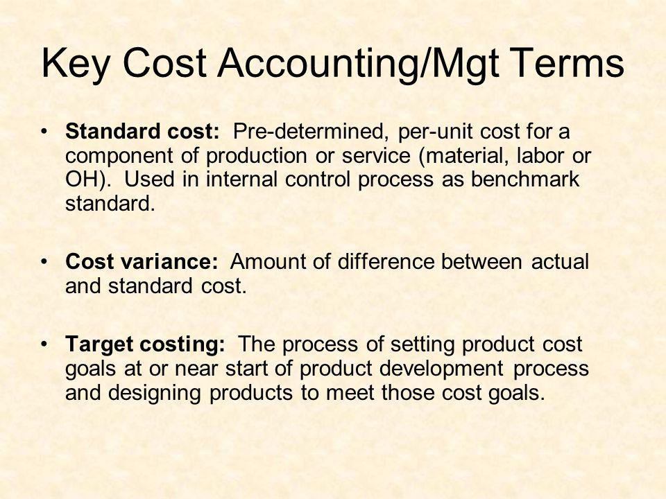 Key Cost Accounting/Mgt Terms