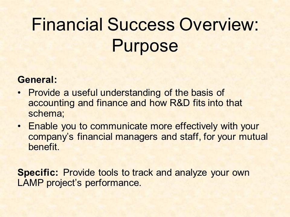 Financial Success Overview: Purpose