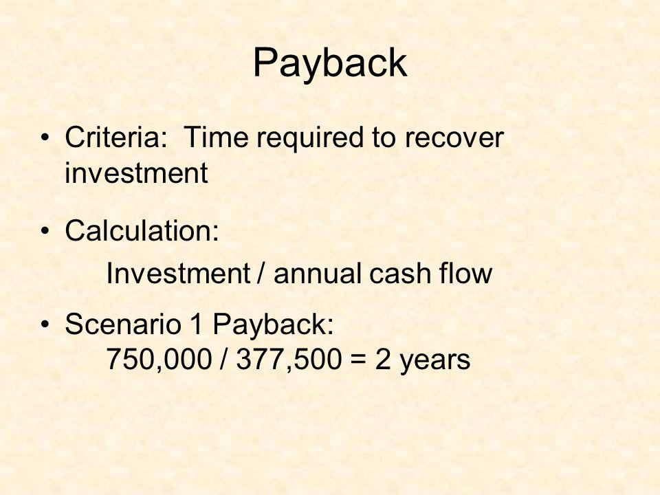 Payback Criteria: Time required to recover investment Calculation: