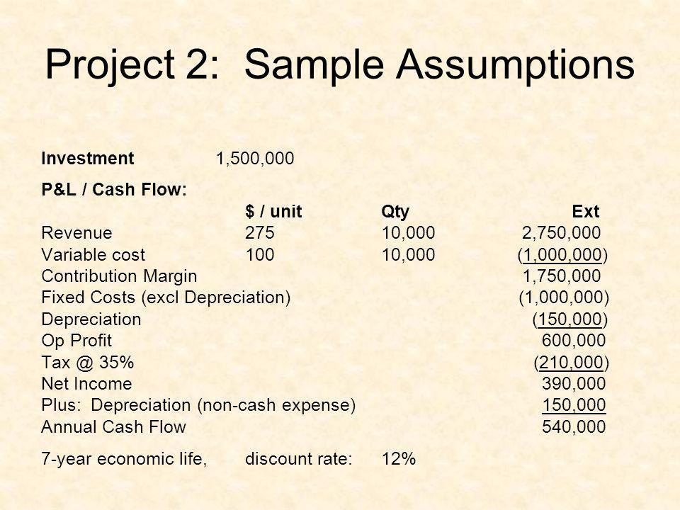 Project 2: Sample Assumptions