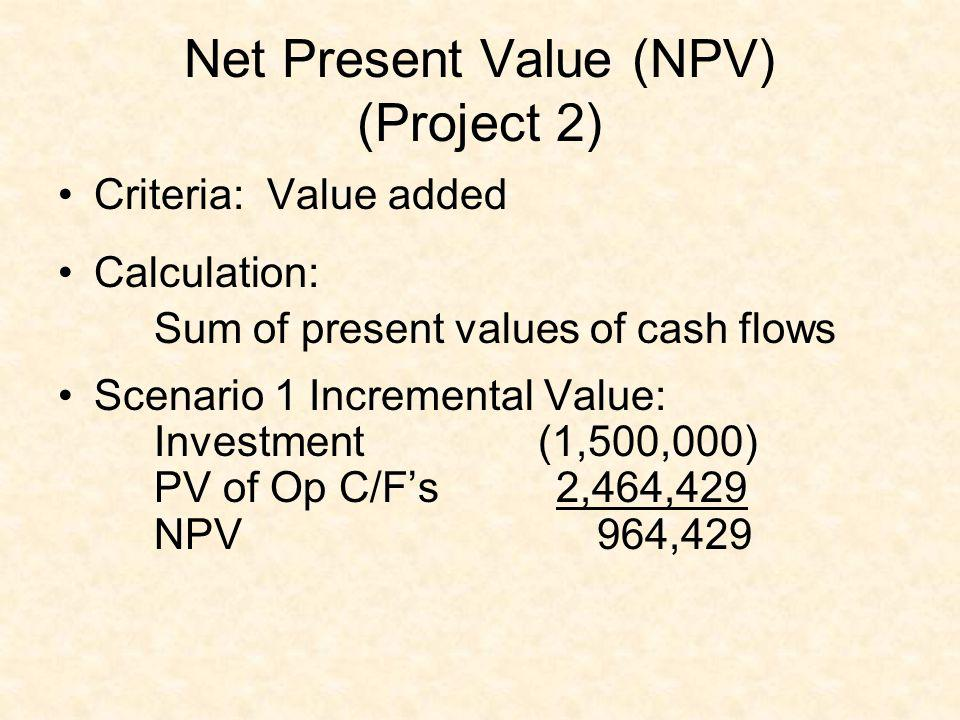 Net Present Value (NPV) (Project 2)
