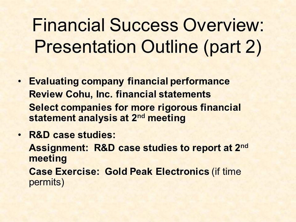 Financial Success Overview: Presentation Outline (part 2)