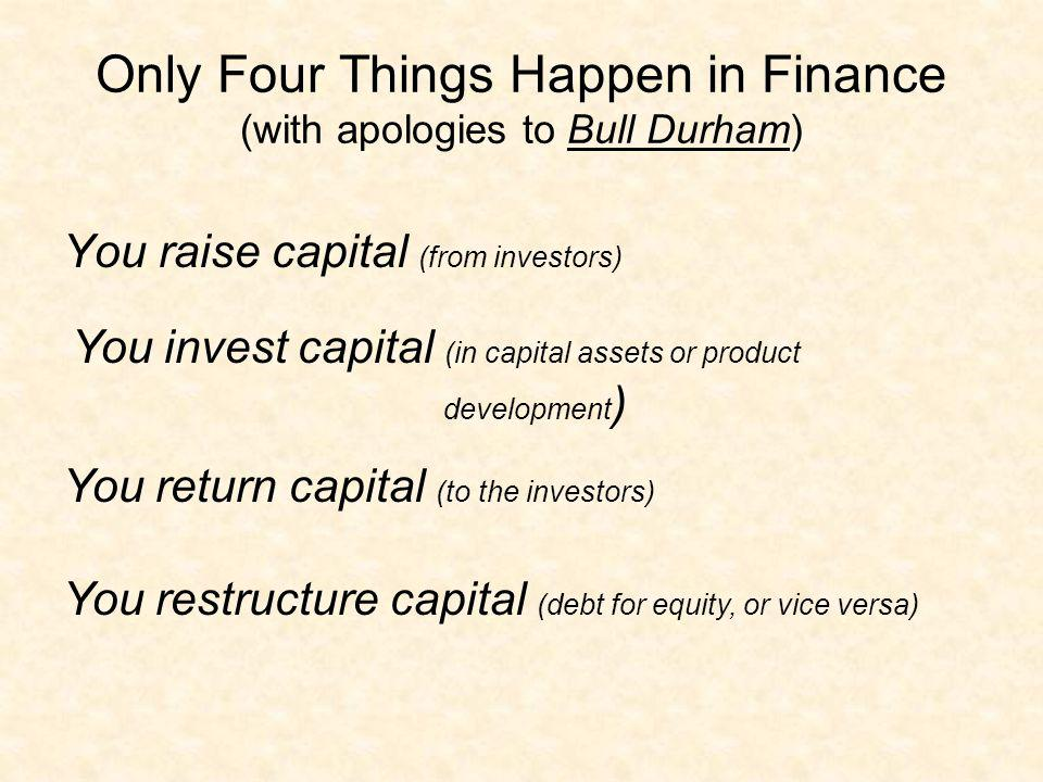 Only Four Things Happen in Finance (with apologies to Bull Durham)
