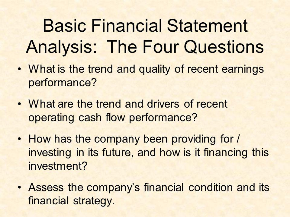 Basic Financial Statement Analysis: The Four Questions