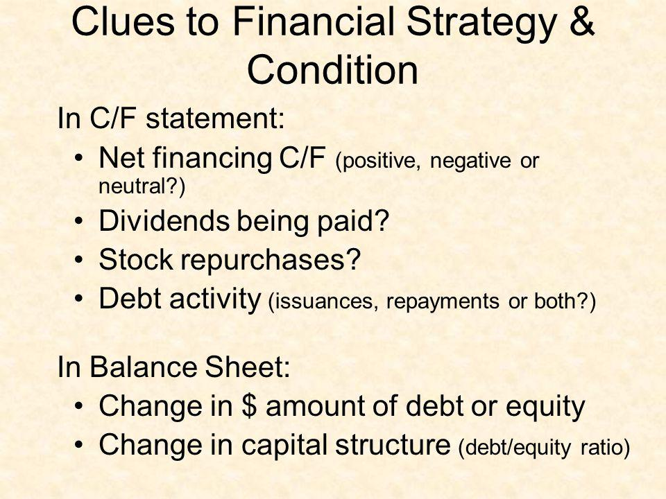 Clues to Financial Strategy & Condition