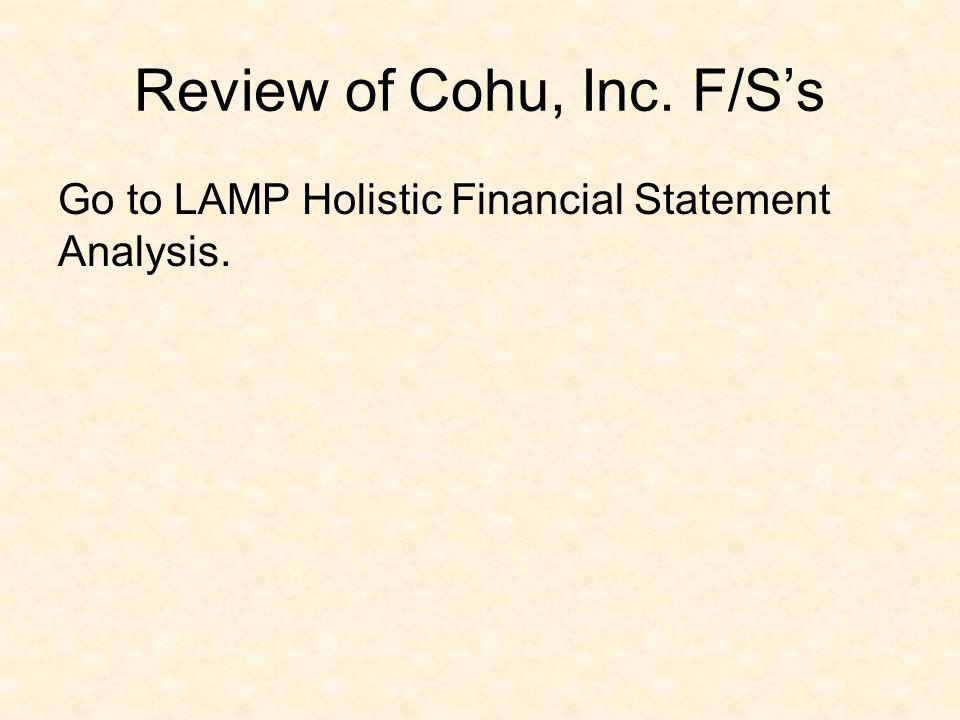 Review of Cohu, Inc. F/S's