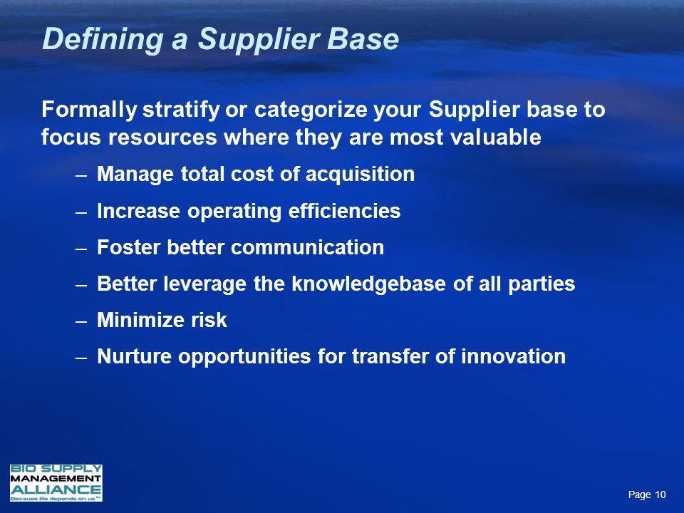 Defining a Supplier Base