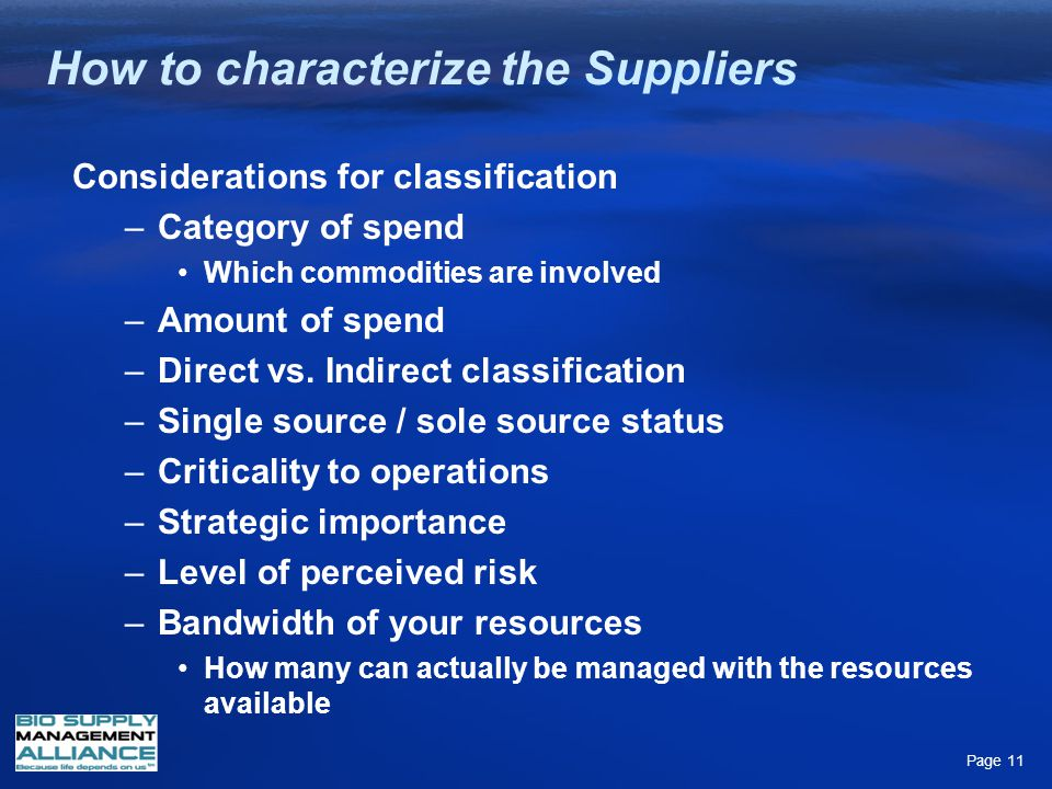 How to characterize the Suppliers