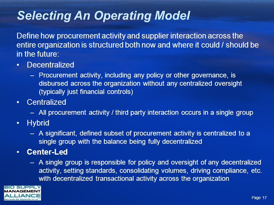 Selecting An Operating Model