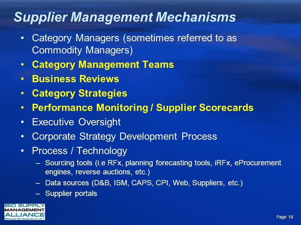 Supplier Management Mechanisms