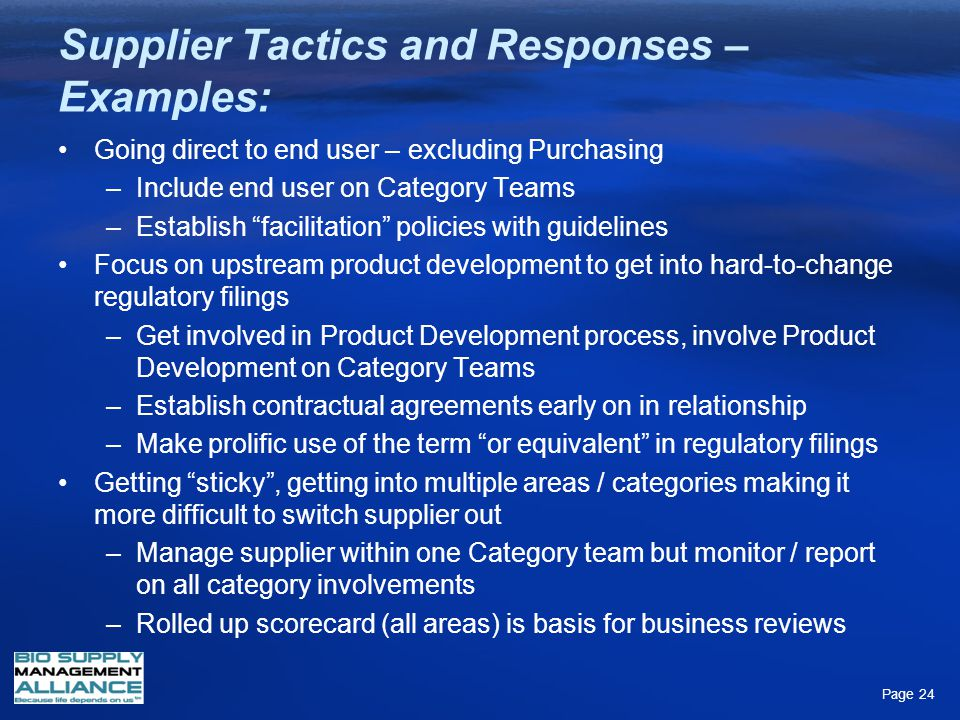 Supplier Tactics and Responses – Examples: