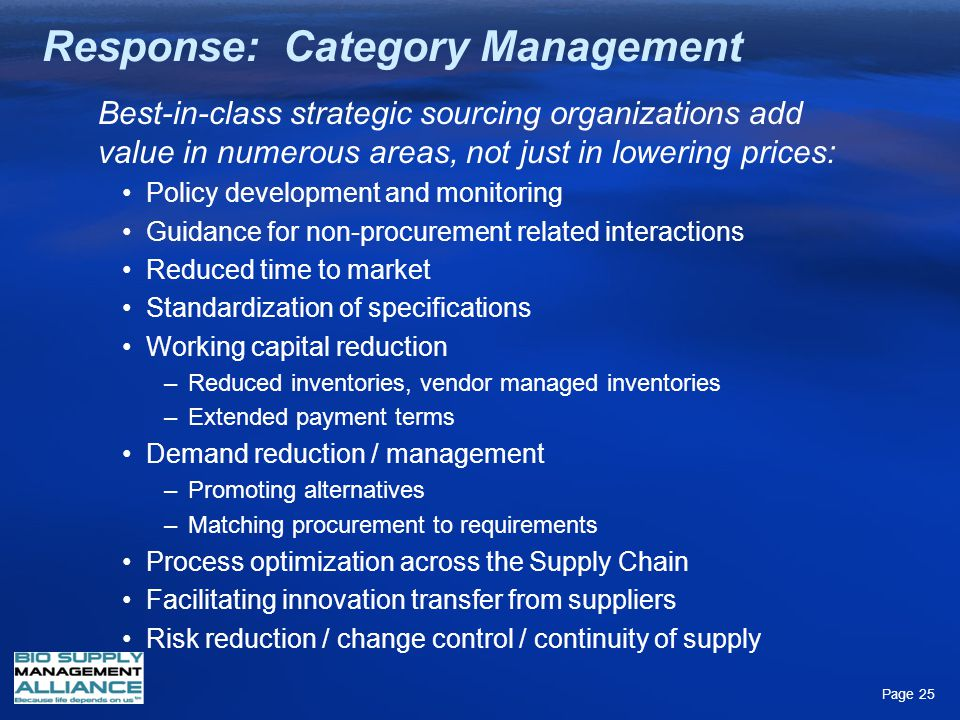 Response: Category Management