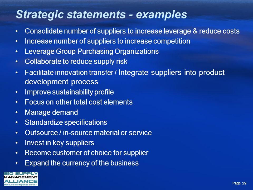 Strategic statements - examples