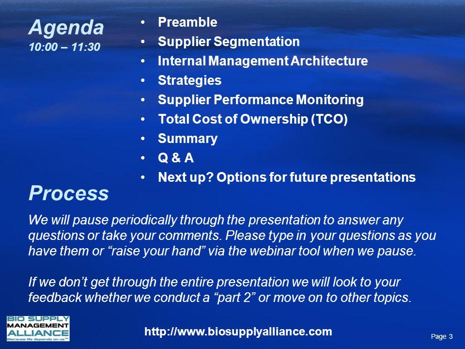 Agenda 10:00 – 11:30 Process Preamble Supplier Segmentation