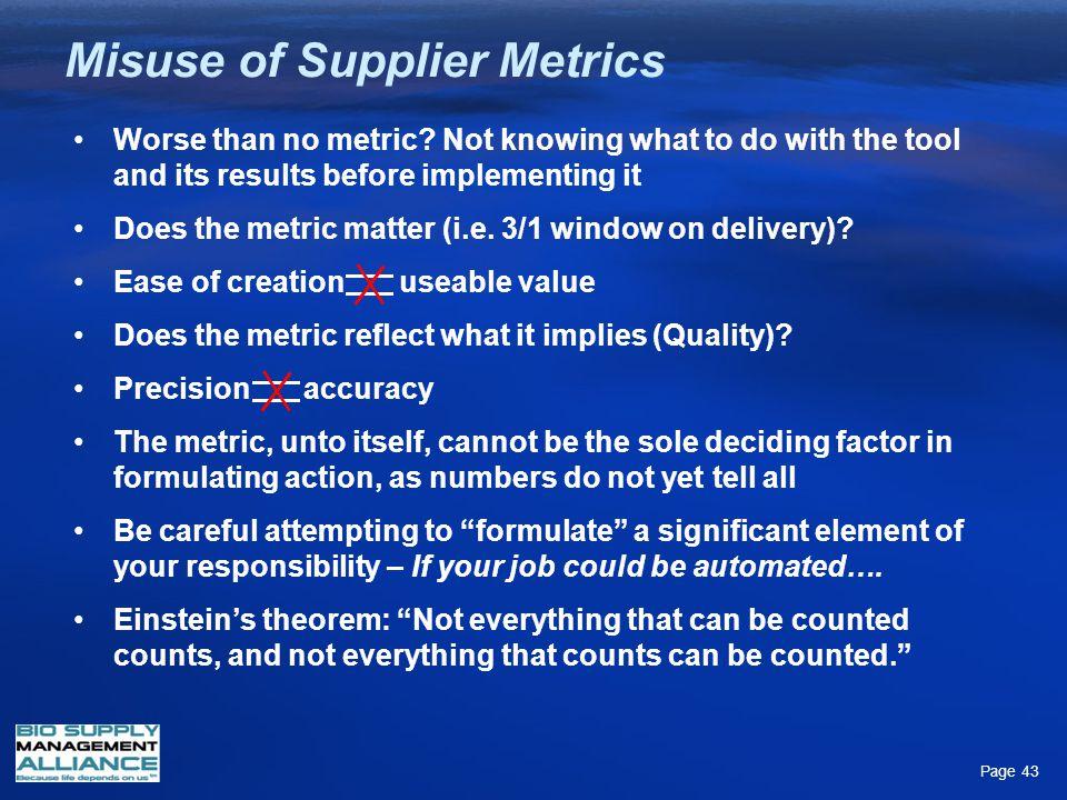 Misuse of Supplier Metrics