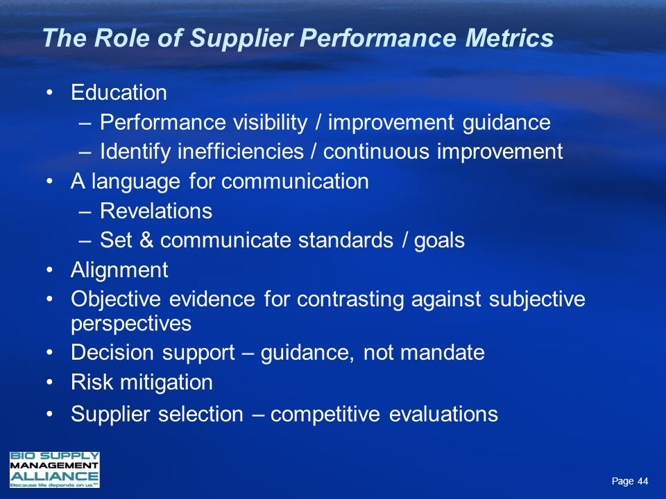The Role of Supplier Performance Metrics